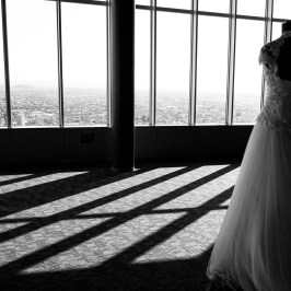 Wedding dress by the window