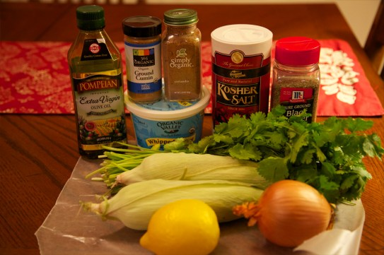 Ingredients for Corn Saute with Cumin, Coriander and Lemon