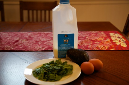 Ingredients for Egg Whites with Spinach and Avocado