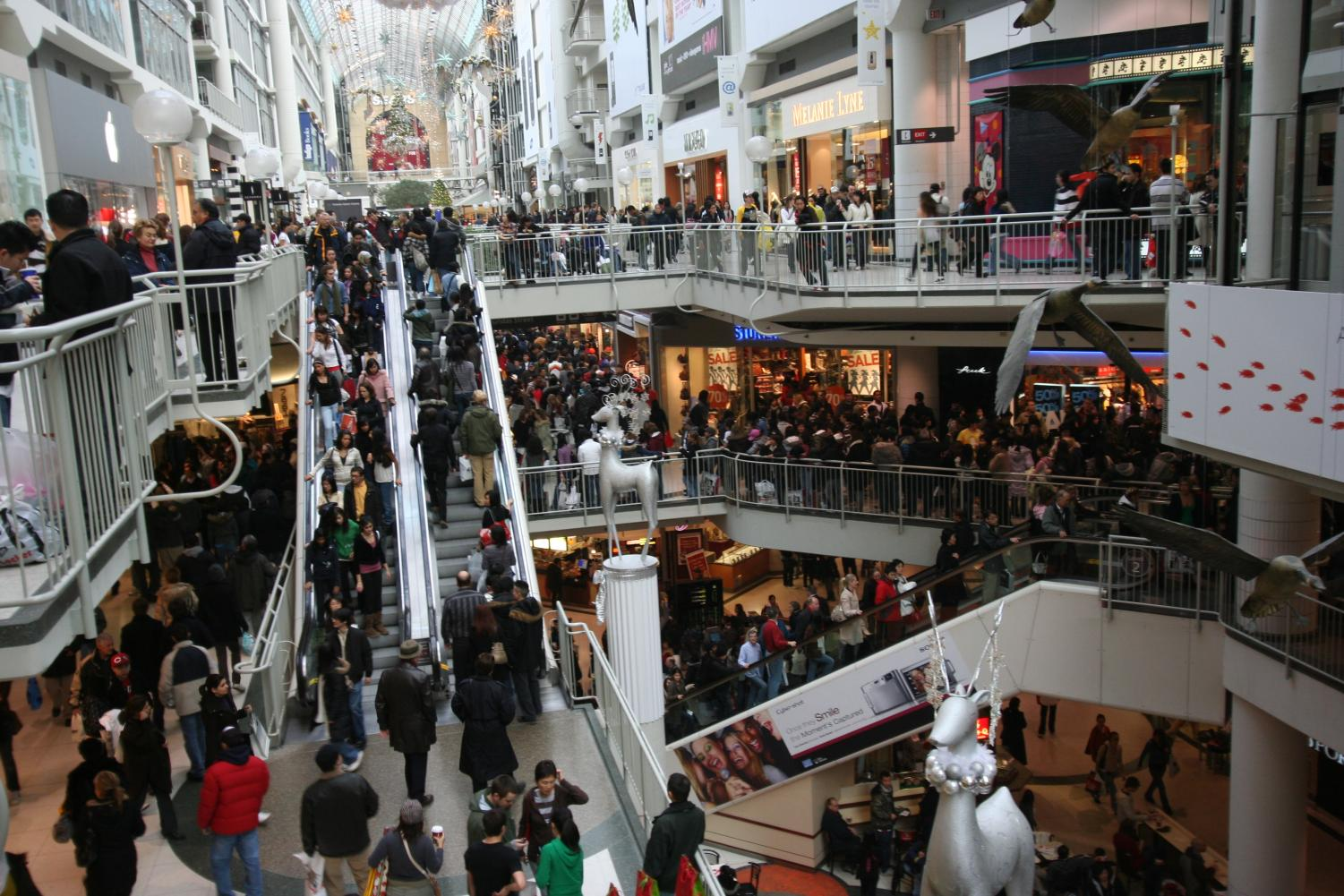 Shoppers rush to purchase goods at the Eaton shopping center in Toronto, Canada.