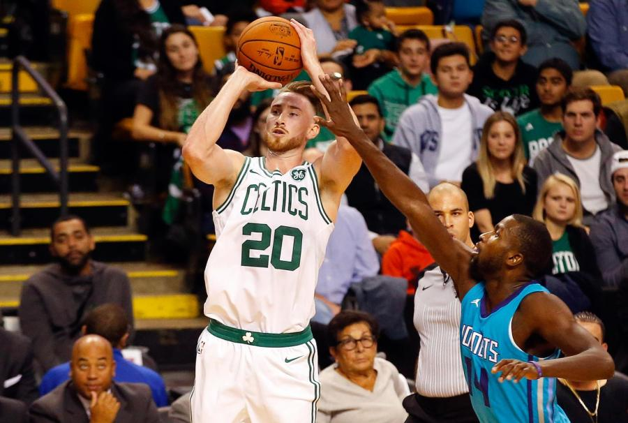 Boston+Celtics+player+gordon+Hayward+takes+a+shot+in+a+game+against+the+Charlotte+Hornets.+on+Oct.+2.+Hayward+injured+his+leg+on+Oct.+17%2C+inhibiting+him+to+play+for+the+remainder+of+the+season.