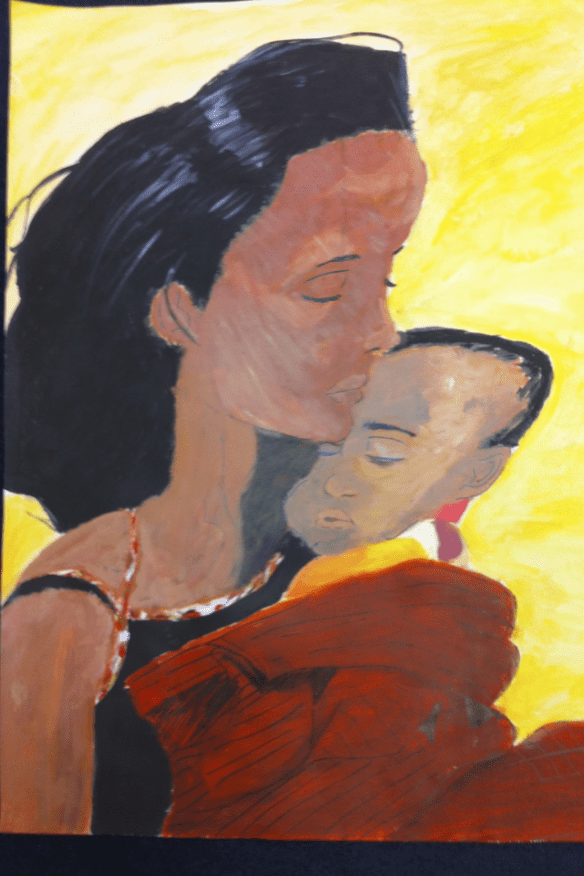 Painting of an Ethiopian woman cradling her baby.