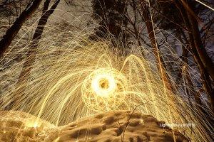 Fire fractals - стальная шерсть и вращающееся приспособление