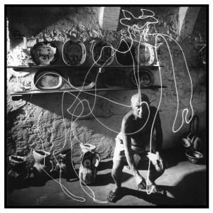 Picasso Draws a Centaur, Pablo Picasso by Light Painting Photographer Gjon Mili