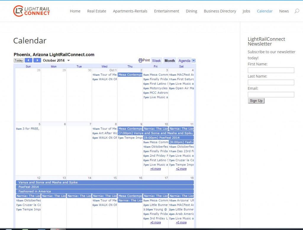 LightRailConnect Calendar