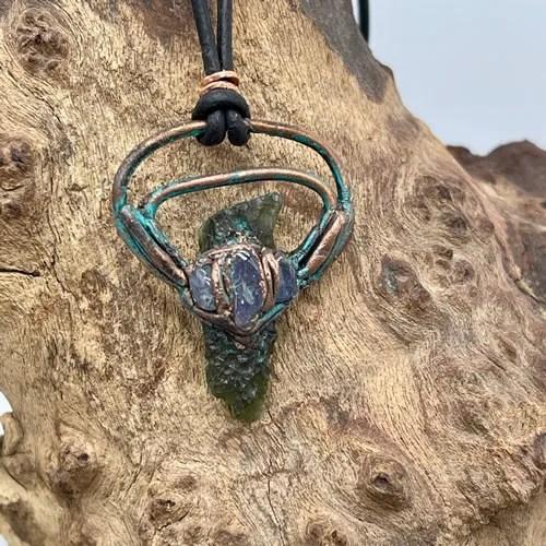 Moldavite And Tanzanite Pendant