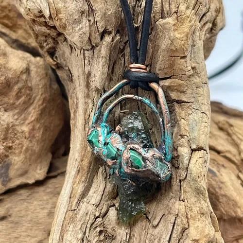 Moldavite And Malachite Pendant