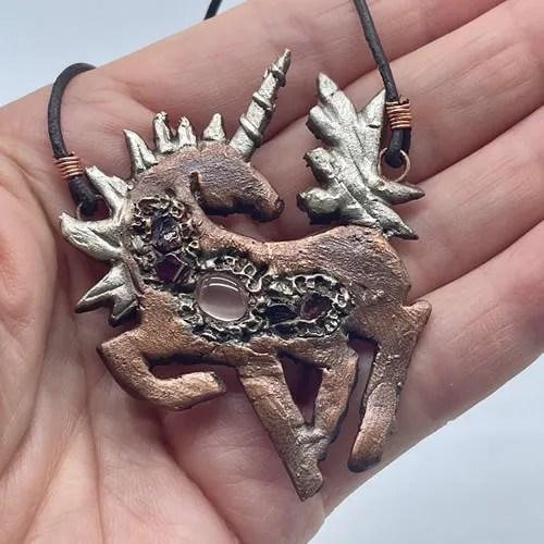 Copper & Silver Unicorn Pendant