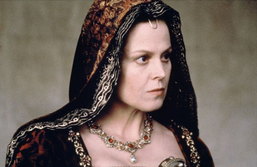 A photograph of actress Sigourney Weaver portraying Queen Isabella in 1492: Conquest of Paradise