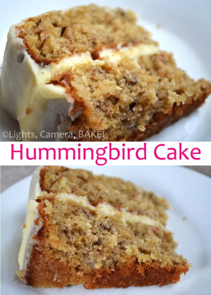Hummingbird Cake. A traditional cake that is super tasty, moist and a definite crowd pleaser! Click the photo for the #recipe . #hummingbirdcake #bananacakerecipe #creamcheeseicing