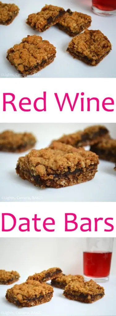 Red Wine Date Bars. A cinnamon oat crumble base and top with a date red wine reduction filling. Such amazing, bold flavours! #datebars #redwinebars #redwinedatebars