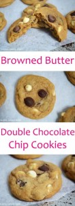 Browned Butter Double Choc Chip Cookies. Thick and chewy white and dark chocolate chip cookies made with browned butter to enhancethe caramel/nutty richness of the cookie. This will become your new favourite cookie, trust me! #brownedbutter #brownedbuttercookies #doublechocolatechipcookies