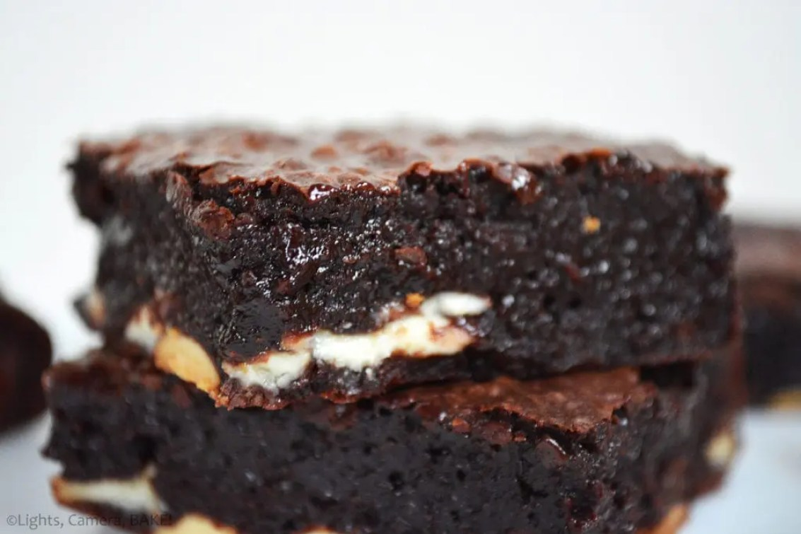 These Bare Bottomed Flourless Brownies are thick and fudgy flourless chocolate brownie baked on top of a layer of white chocolate, hence the bare bottom... Get it? Tehe