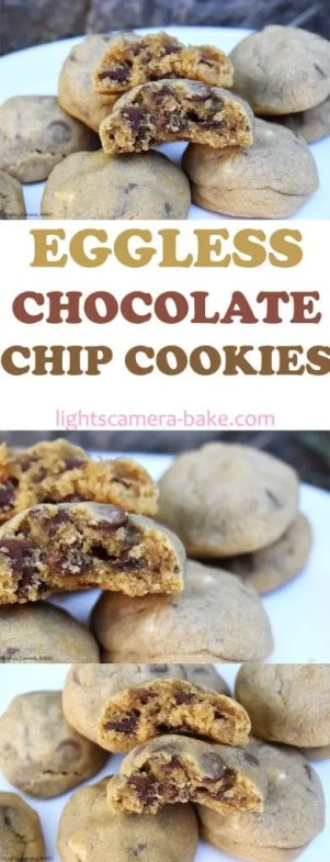 Eggless Chocolate Chip Cookies are thick and chewy chocolate chip cookies made without eggs so if you are allergic to eggs or don't have any on hand this is for you! #egglesscookies #eggfreecookies #egglesschocolatechipcookies #chewychocolatechipcookies
