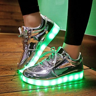 Silver LED Light Up Shoes
