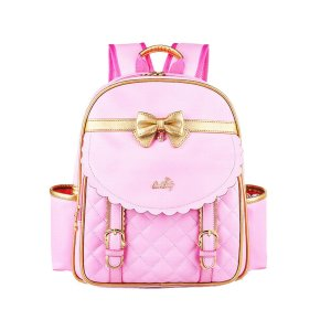 EURO SKY Children School Backpack Bags for Girls Students PU Leather Pink Large