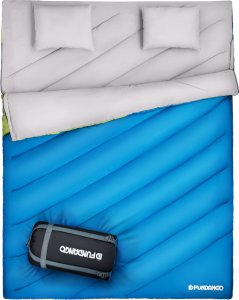 FUNDANGO Queen Size XL Double Sleeping Bag for Camping ,Hiking,Traveling,2 Person Sleeping Bag with 2 Pillows and Compression Bag