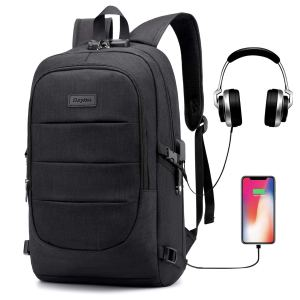 Ranvoo Laptop Backpack, Business Anti Theft Waterproof Travel Backpack with USB Charging Port & Headphone Interface for College Student for Women Men,Fits Under 15.6 Inch Laptop Notebook (Black)