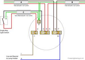 Radial circuit light wiring diagram (old colours) | Light