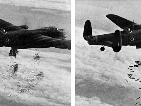 Avro Lancaster - britische Bomber beim Abwurf ihrer tödlichen Fracht - © Wikipedia