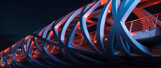 Pont Hans-Wilsdorf, Genève, Suisse - Tubular Twilight, Genève, Suisse - Photo : Michel Djaoui
