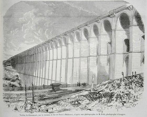 Viaduc de Chaumont, sur le chemin de fer de Paris à Mulhouse, d'après une photographie de M. Petit, photographie à Langres, Le Monde illustré, n°4, 9 mai 1857