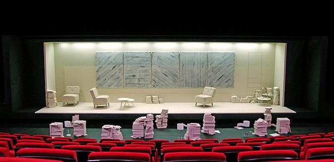 Espace scénique, La Leçon de Eugène-Ionesco - Mise en scène : Christian Schiaretti, TNP - Scénographe et dessin : Samuel Poncet