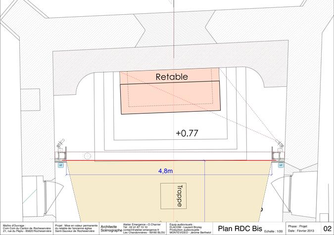 02-Roch-Plan-RDCBis-Revelations-Retable-eglise Saint-Sauveur, Rocheserviere, France © Atelier Emergence, Montevideo, Elacom