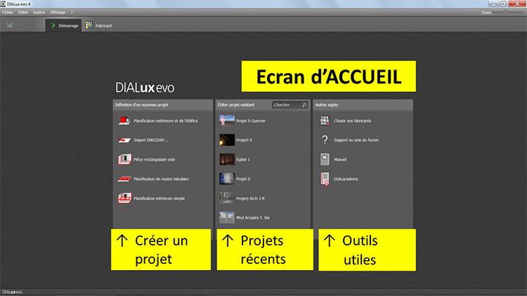 DIALux evo 4 - menu 1 accueil - en francais - Vincent Laganier
