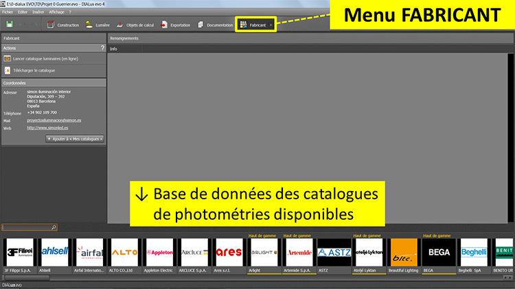 DIALux evo 4 - menu 7 fabricant - en francais - Vincent Laganier