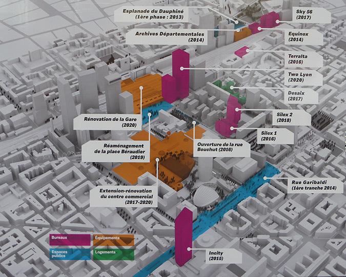 Axonométrie des nouvelles constructions - Exposition projet Lyon Part-Dieu, 2014 - Immeuble B10, France - Dessin : AUC - Grand Lyon