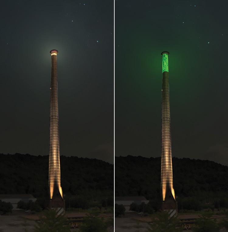 Simulation de la mise en lumière de la Cheminée de Chateauneuf à Rive de Gier - SEM 2015 ©Lucas Goy – Les éclaireurs (2)