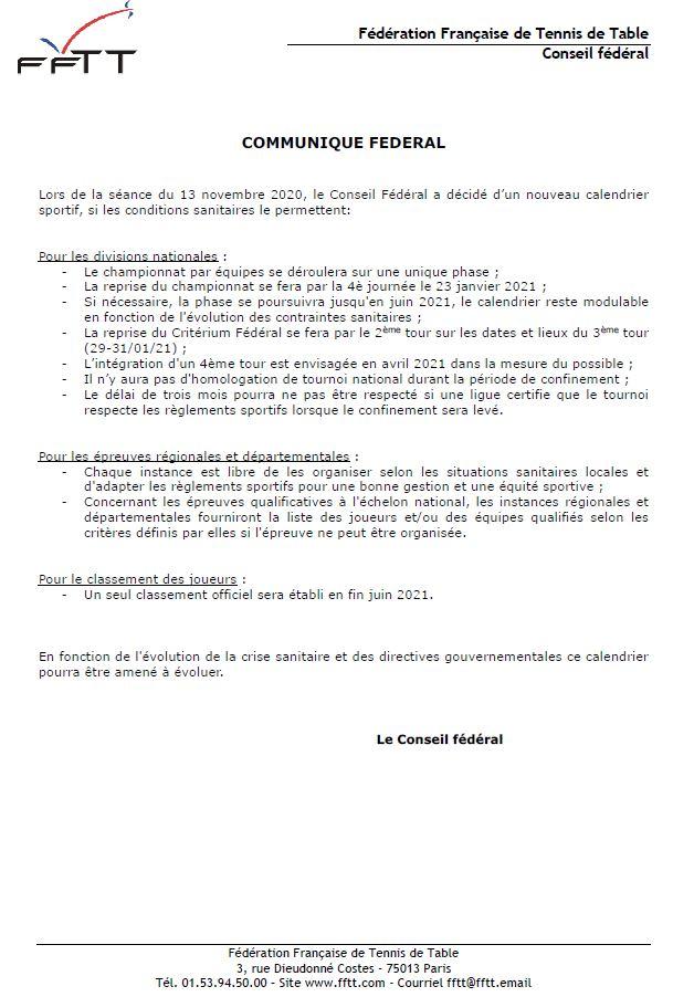 Nouveau Calendrier Sportif – Communiqué FFTT du 16 novembre 2020 |