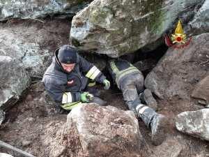 vigili del fuoco salvano cane