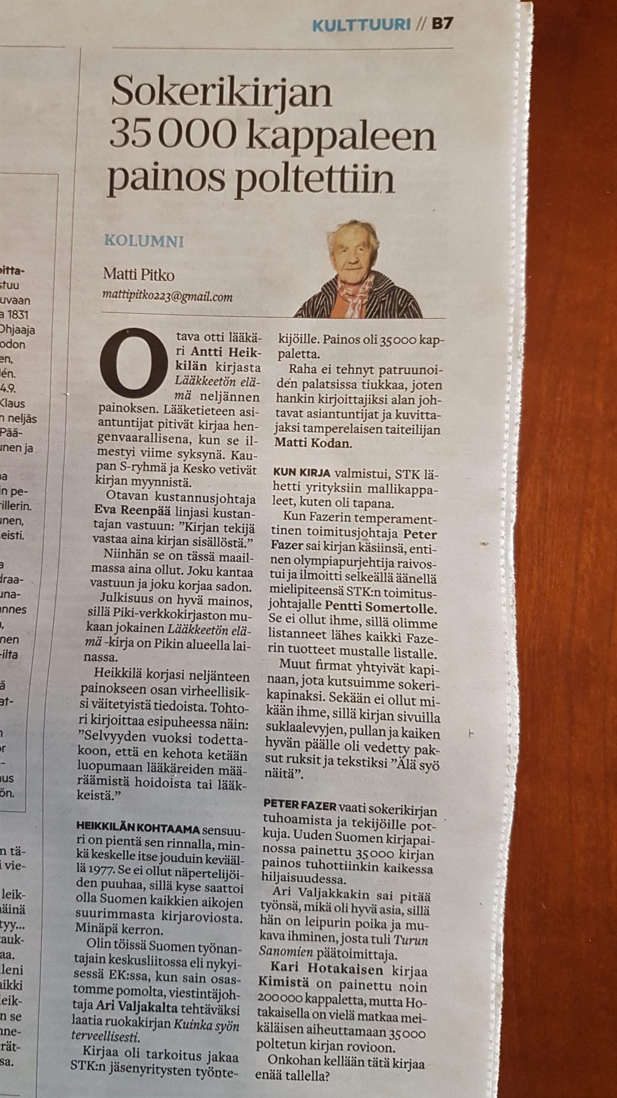 Aamulehden kolumnissa 20.2.2019 Matti Pitko kertoo terveyskirjojen hyllytyksestä.