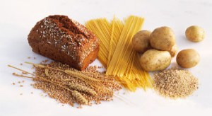 Mynd af korni, brauði, pasta og kartöflum