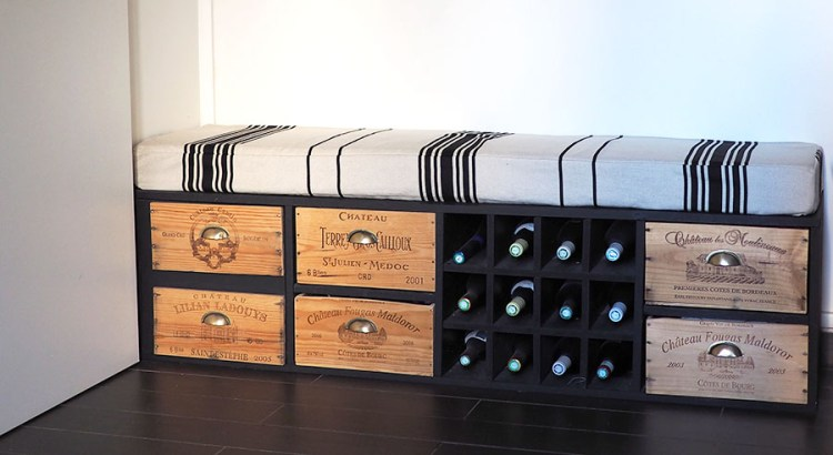 r cup fabriquer un meuble avec des caisses de vin. Black Bedroom Furniture Sets. Home Design Ideas