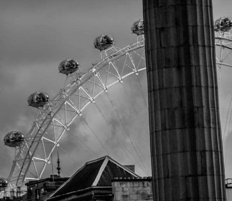 The London Eye from inside the National Gallery