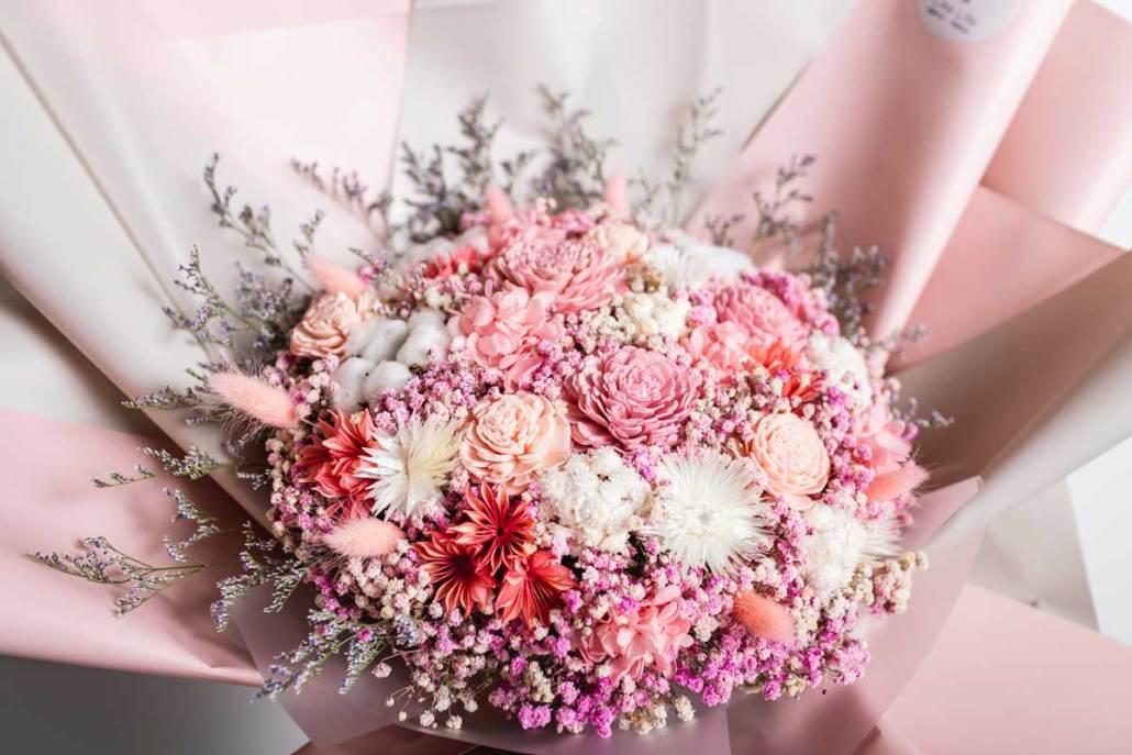 巨大乾燥花束,求婚花束推薦台北-粉色特寫