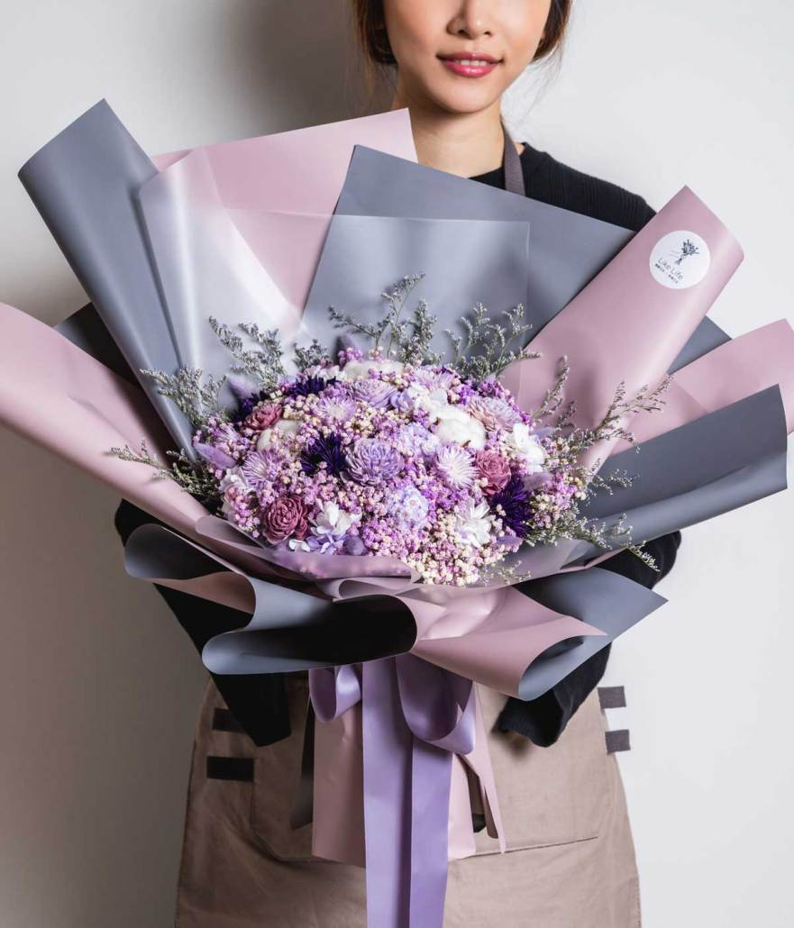 巨大乾燥花束,求婚花束推薦台北-紫色