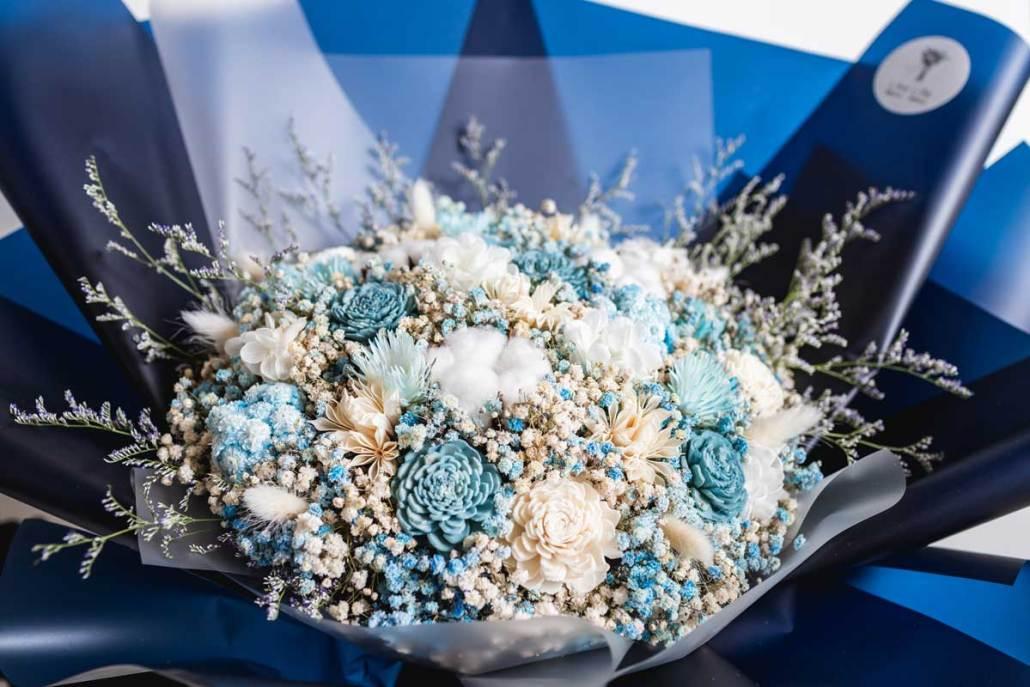 巨大乾燥花束,求婚花束推薦台北-深藍色特寫