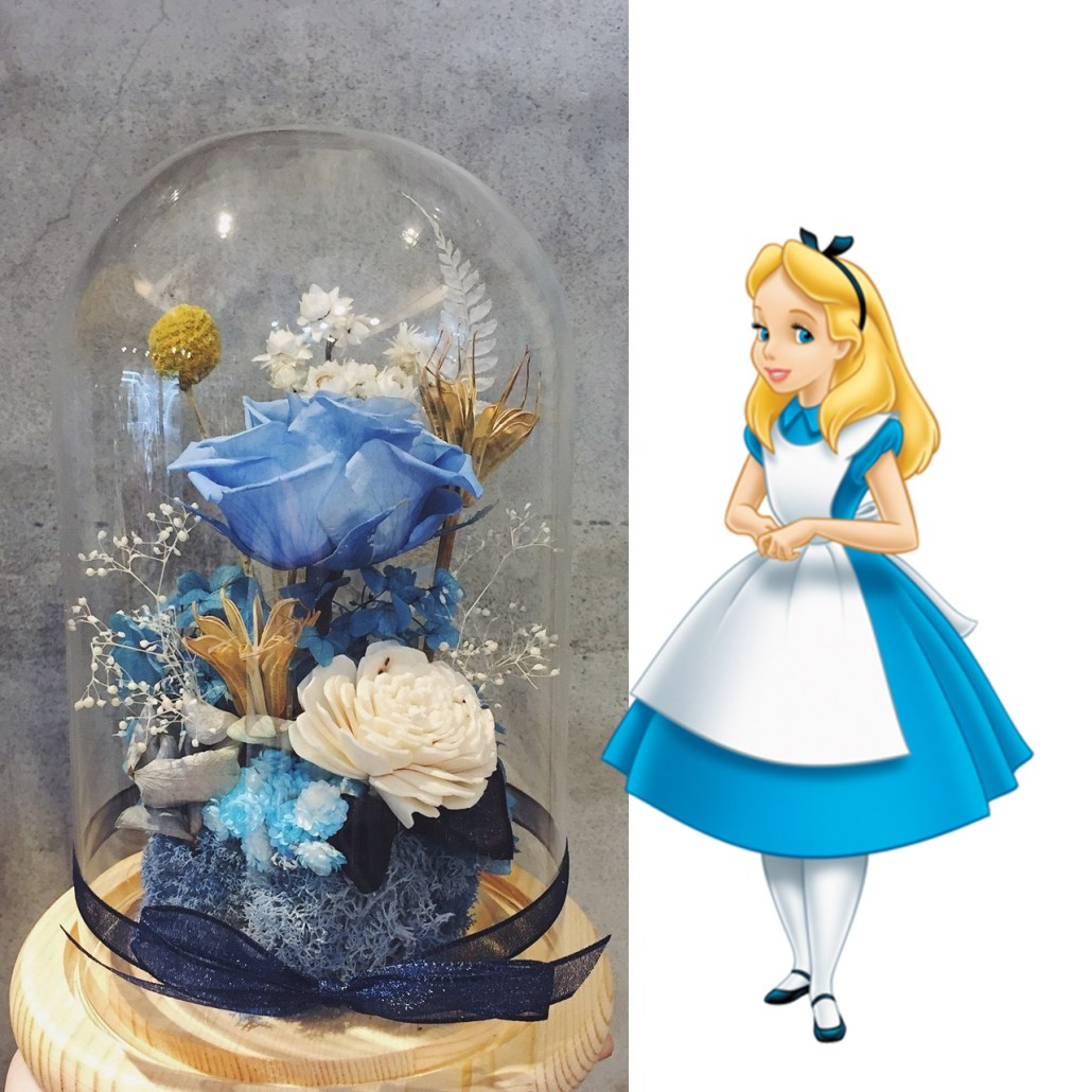 愛麗絲玫瑰永生花玻璃罩,台北永生花設計