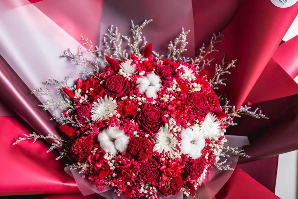 巨大乾燥花束,求婚花束推薦台北-紅色特寫