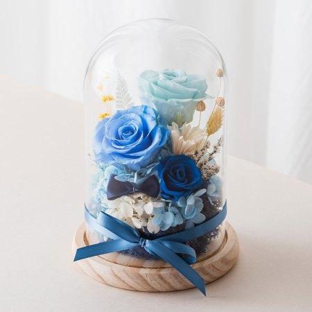 永生花玻璃盅罩-永生花大型淺藍封面