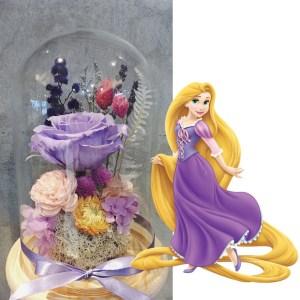 長髮公主永生花玻璃盅罩