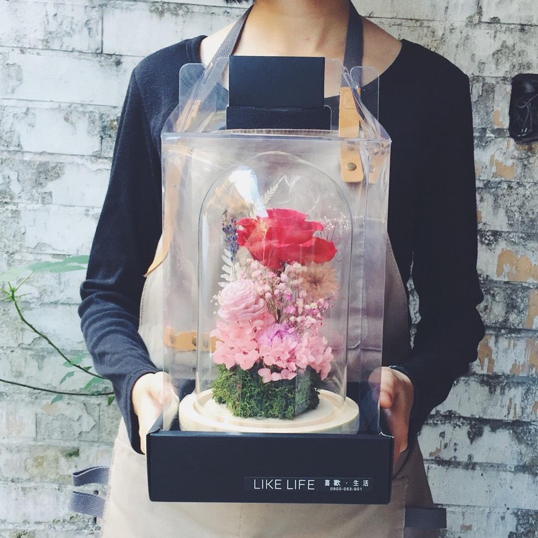 永生花盅包裝,永生花,美女與野獸