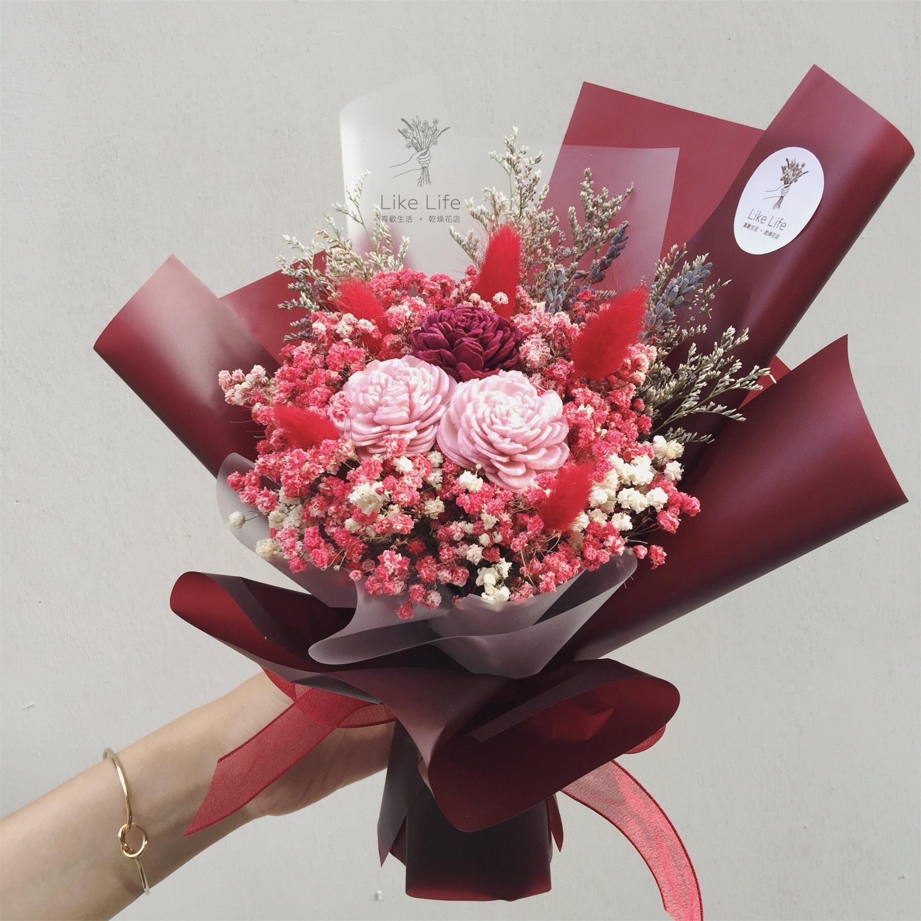 乾燥花紅色花束2