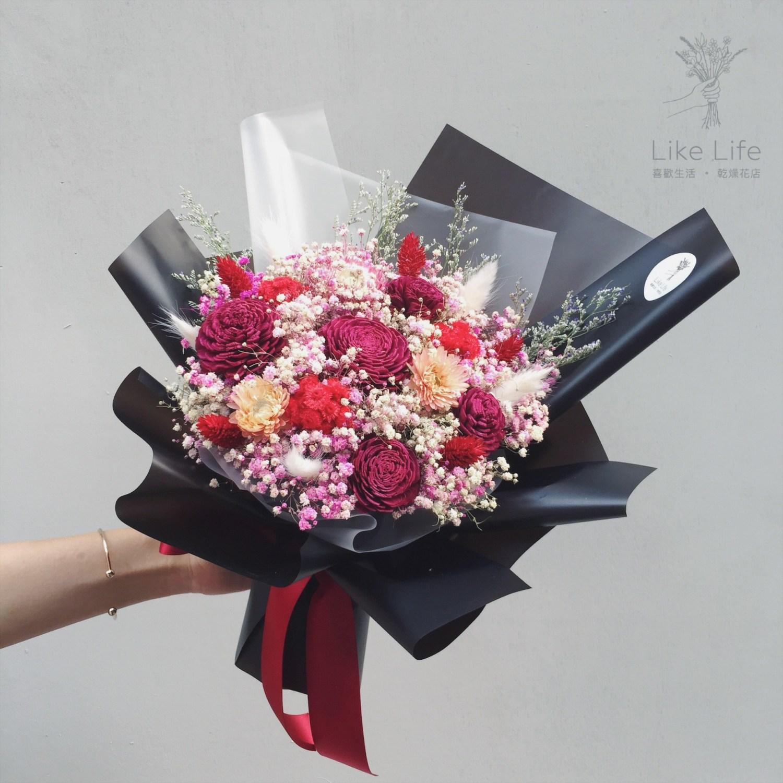 韓式包裝中型花束黑紅封面