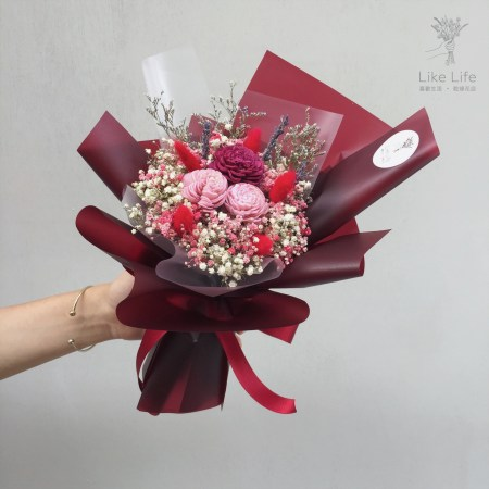 母親節乾燥花束紅色,酒紅色乾燥花束-台北喜歡生活乾燥花店