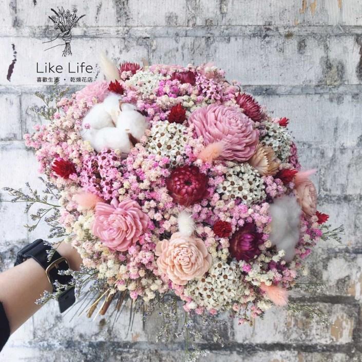 歐式圓型乾燥捧花-自然星球粉色系